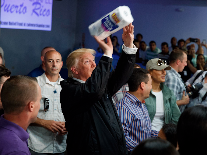 Trump Hands Out Paper Towels - Scandal Ensues.