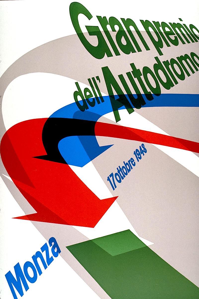 a Max Huber poster for 1948 Gran premio dell' Autodromo