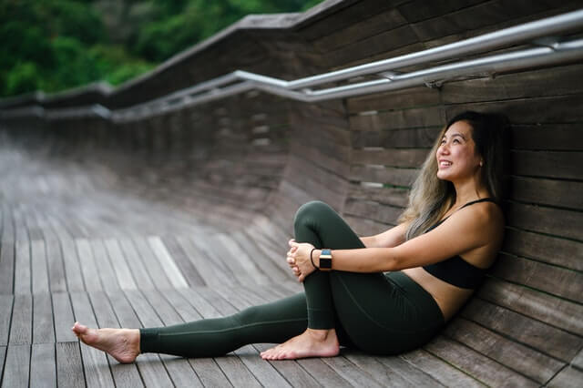 Photo-of-Smiling-Woman-Woman-in-Black-Sports-Bra-and-Black-Leggings
