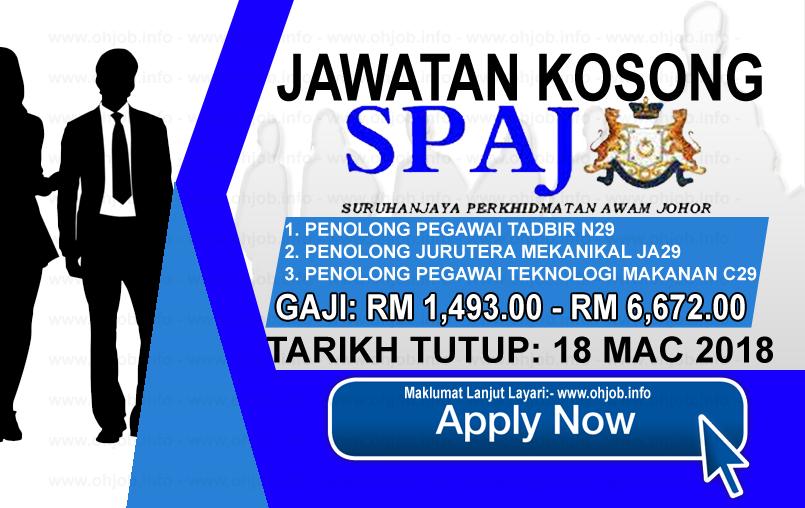 Jawatan Kerja Kosong SPAJ - Suruhanjaya Perkhidmatan Awam Johor logo www.ohjob.info mac 2018