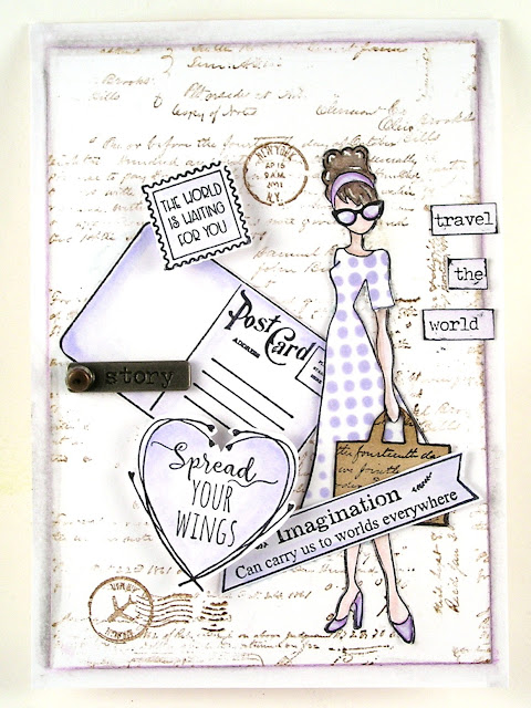Prima Marketing Julie Nutting Travel Girl Stampers Anonymous Entomology Ranger Distress Ink Shaded Lilac Prima Marketing Watercolor Pencils For the Funkie Junkie Boutique