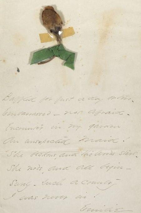 Carta y flor prensada de Emily Dikinson