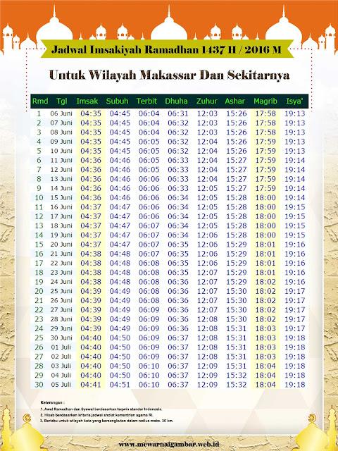 Jadwal Imsakiyah Kota Makasar Tahun 2016 1437 H