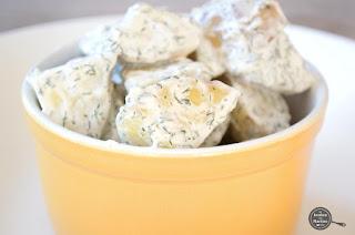 Smeuïge dille-aardappeltjes met gegrilde groenten