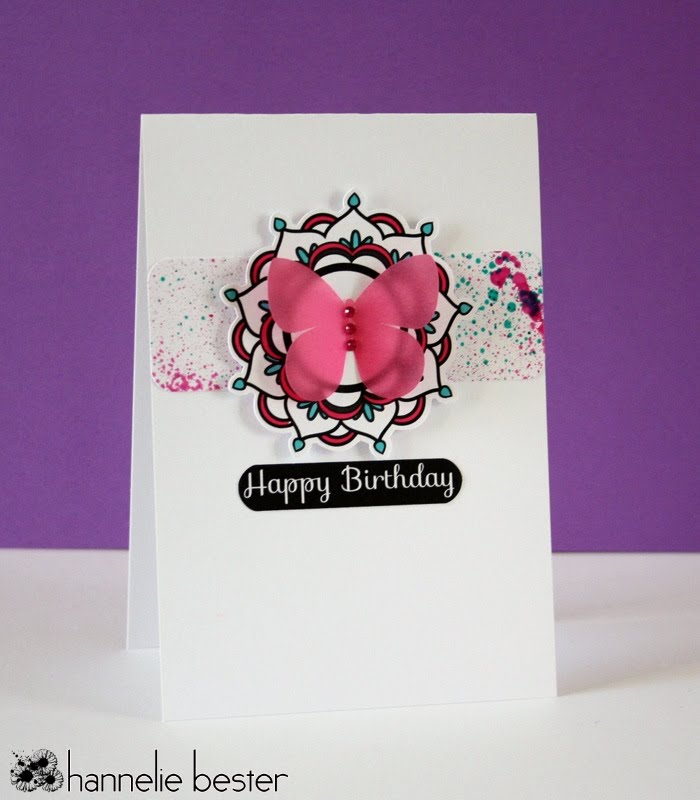 Butterfly birthday card with splatters