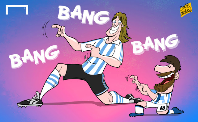 Messi equals Batistuta's goal record cartoon