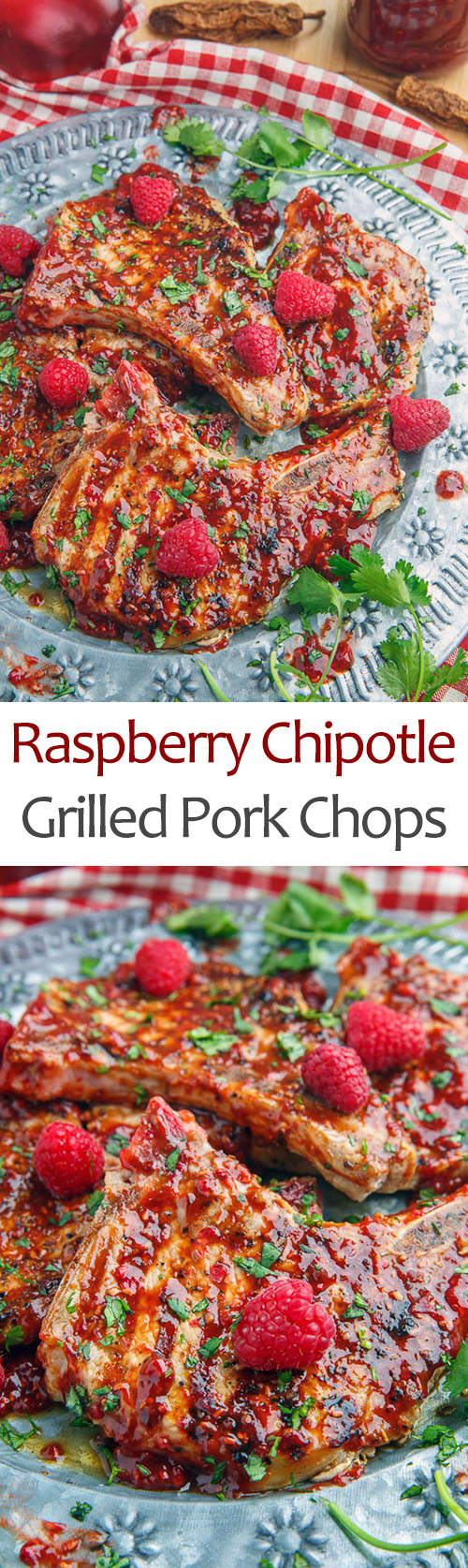 Raspberry Balsamic Chipotle Grilled Pork Chops