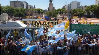 Festejos al asumir Mauricio Macri