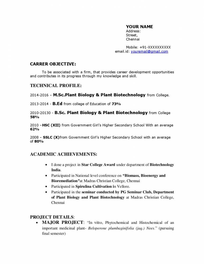 Biology Resume Template Example - Download - Resume Samples