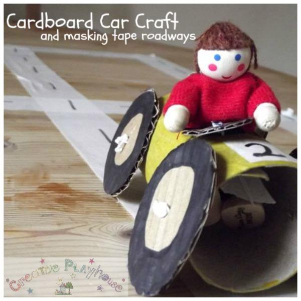 Creative Playhouse Cardboard Car And Masking Tape Roads