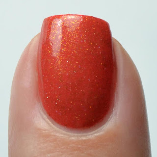 orange nail polish with gold shimmer