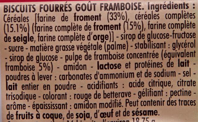BN - Framboise - Biscuit BN Framboise - Ingrédients