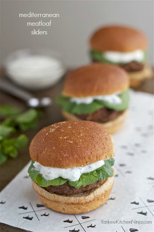 Mediterranean meatloaf sliders with yogurt mint sauce