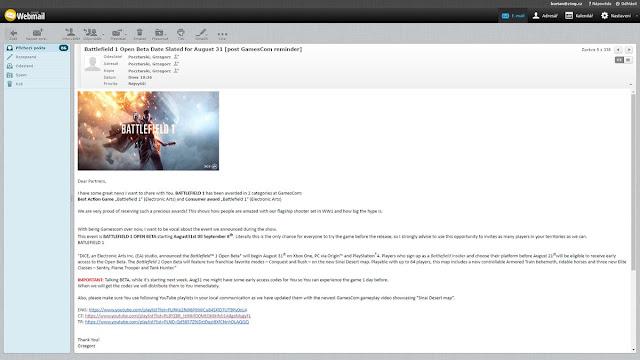 La beta de Battlefield 1 duraría nueve días + tamaño de Xbox One