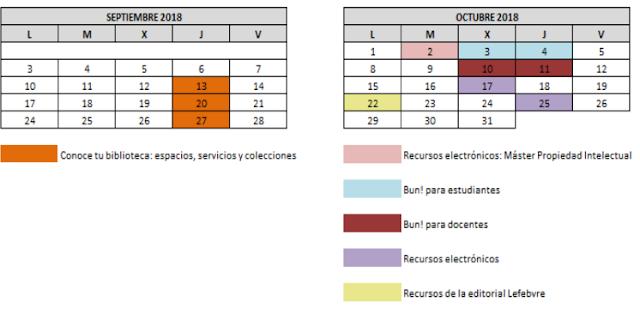 Calendario formación Biblioteca Derecho UAM sep-oct 2018