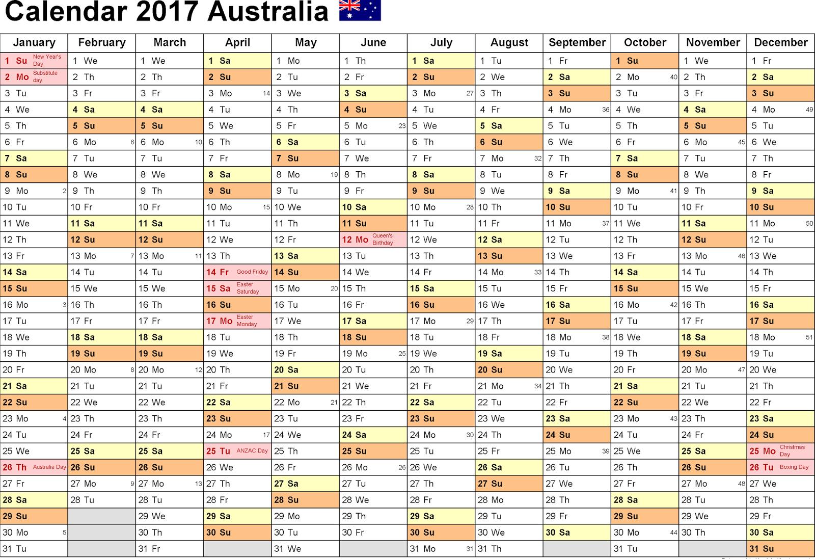 photo calendar australia