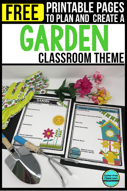 """GARDEN Theme Classroom: If you're an elementary teacher who is thinking about a garden or flowers theme then this classroom decor blog post is for you. It'll make decorating for back to school fun and easy. It's full of photos, tips, ideas, and free printables to plan and organize how you will set up your classroom and decorate your bulletin boards for the first day of school and beyond.  """