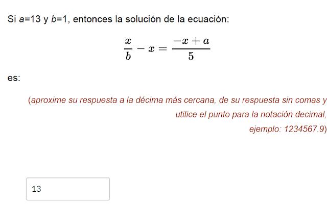 solucion de la ecuacion a=13 y b=1