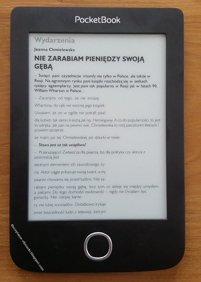 przykład działania trybu reflow w PocketBook Basic 3