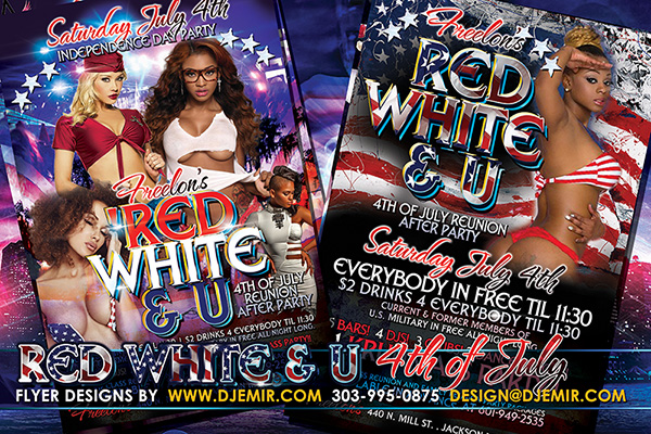 Red White And U 4th of July Flyer Design 2015