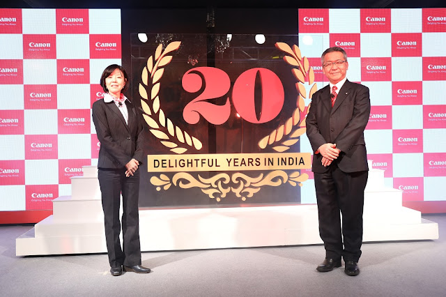 Ms. Noriko Gunji, President & CEO, Canon Singapore Pte Ltd with Mr Kazutada Kobayashi, President & CEO, Canon India Pvt. Ltd. launch the grand Canon India 20th anniversary logo