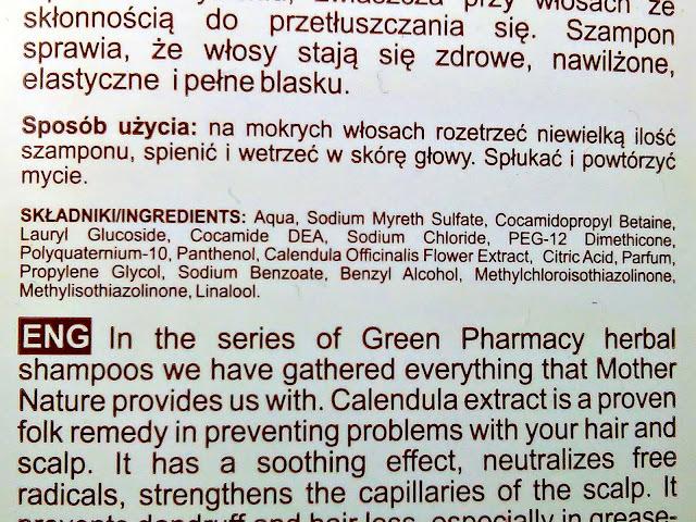 Green Pharmacy - Szampon do włosów normalnych i przetłuszczających się - Nagietek lekarski, skład