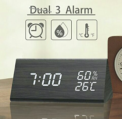 Ticktar Digital Alarm Clock - Time, Temperature, Humidity