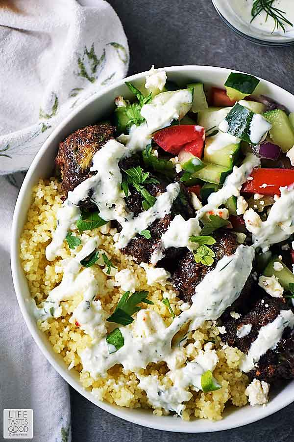 Assembled Greek Bowl recipe with Tzatziki sauce ready to eat