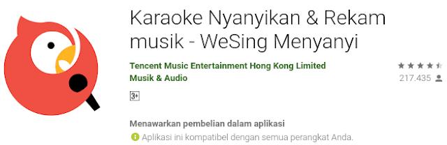 Wesing ini adalah aplikasi karaoke buatan Tencent Music Intertainment yang bisa kalian unduh gratis di Google Play Store.