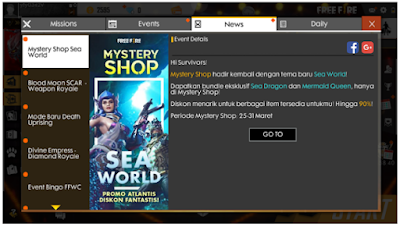 Free fire Mystery Shop Sea World, Begini cara membukanya Via Broswer