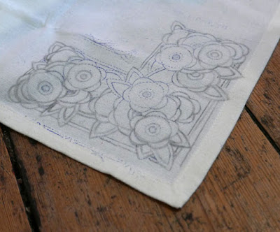 1930s embroidery transfer on a tablecloth