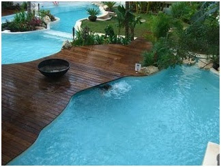 Pools and wood. Wooden decks on poolside