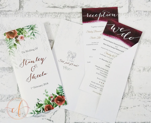 Burgundy Floral Garden Wedding Invitation Cards