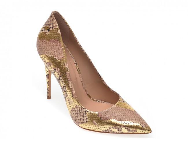 Pantofi ALDO aurii, cu toc si imprimeu piele de sarpe, din piele ecologica