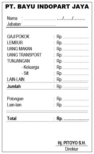 contoh format slip gaji