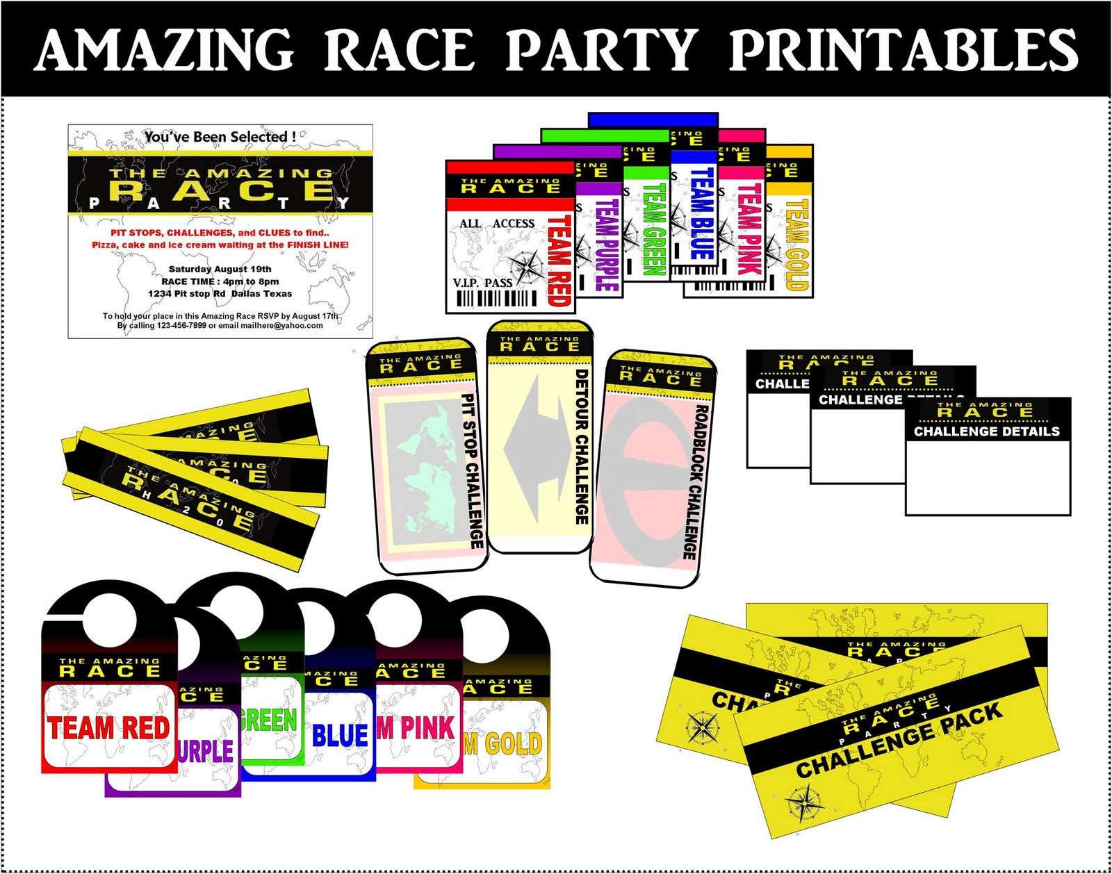 Free Amazing Race Party Printables