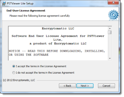 EmlViewer Lite EULA license agreement. Accept and continue with installation.