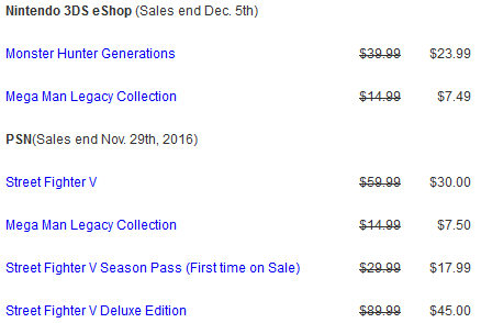 Mega Man Legacy Collection Cyber Monday sales prices Capcom Unity Nintendo 3DS eShop PlayStation Network