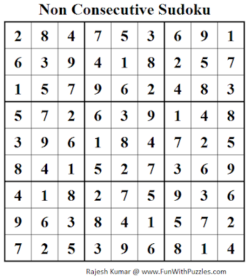 Non Consecutive Sudoku (Fun With Sudoku #72) Solution
