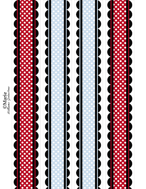 Borders with blue and red patterns and polka dot scallop edges
