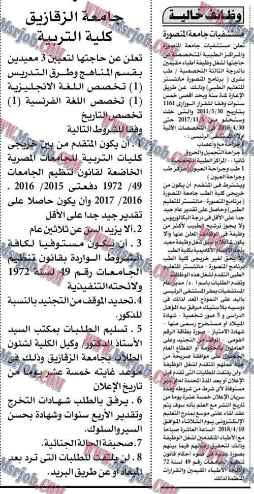 اعلان وظائف حكومية بمستشفيات مصر الجامعية للخريجين والتقديم والشروط