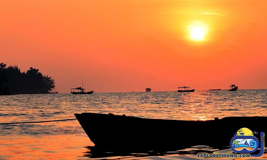 panorama senja wisata pulau tidung