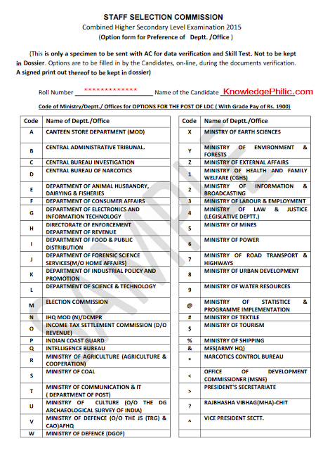 SSC CHSL 2015 Option form for Preference PDF Download [official Sample]