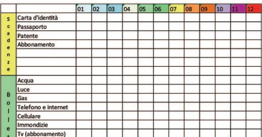 Nata disorganizzata planner annuale delle spese da stampare for For planner