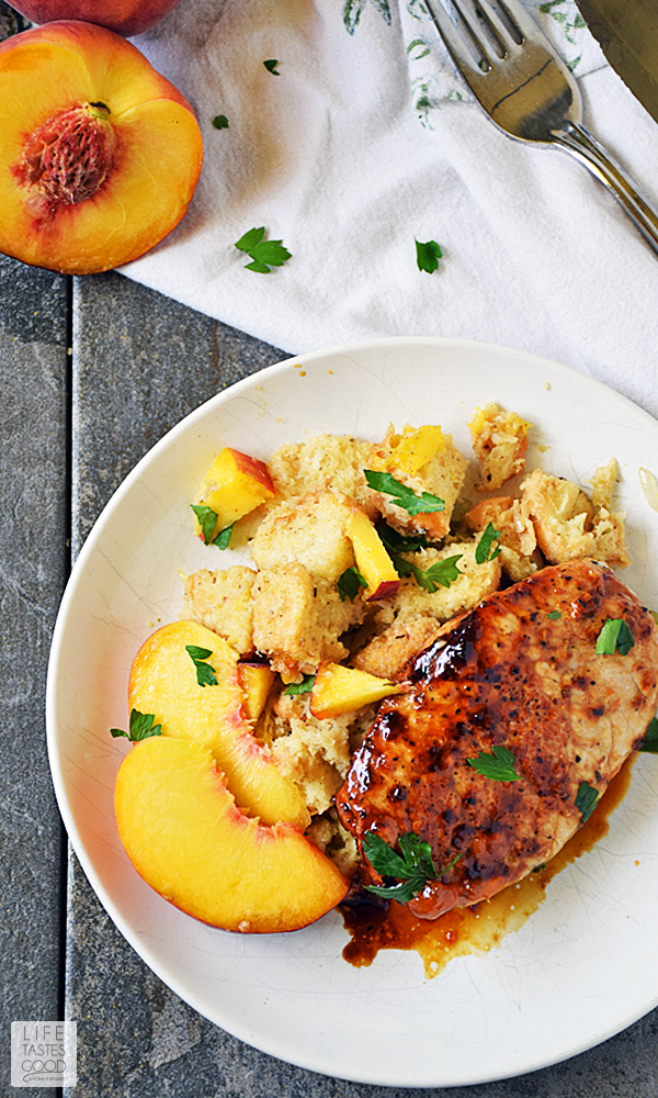 Peach Glazed Pork Chops and Stuffing is an easy meal you can enjoy any night of the week! This easy recipe pairs sweet, fresh peaches with savory homemade stuffing and pork for an exciting flavor combo the whole family will love. Even more exciting is having a delicious dinner on the table in 30 minutes! #LTGrecipes #SundaySupper