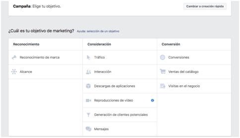 Definir el objetivo de la campaña Facebook - MasFB