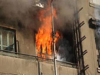 السيطرة على حريق هائل شب ببرج سكنى فى الفيوم