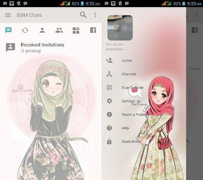 BBM MOD Transparent Hijab Cute v3.2.5.12 Apk Terbaru