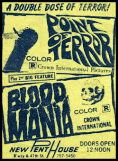 Crown International's double feature of BLOOD MANIA (1970) and POINT OF TERROR (1971)