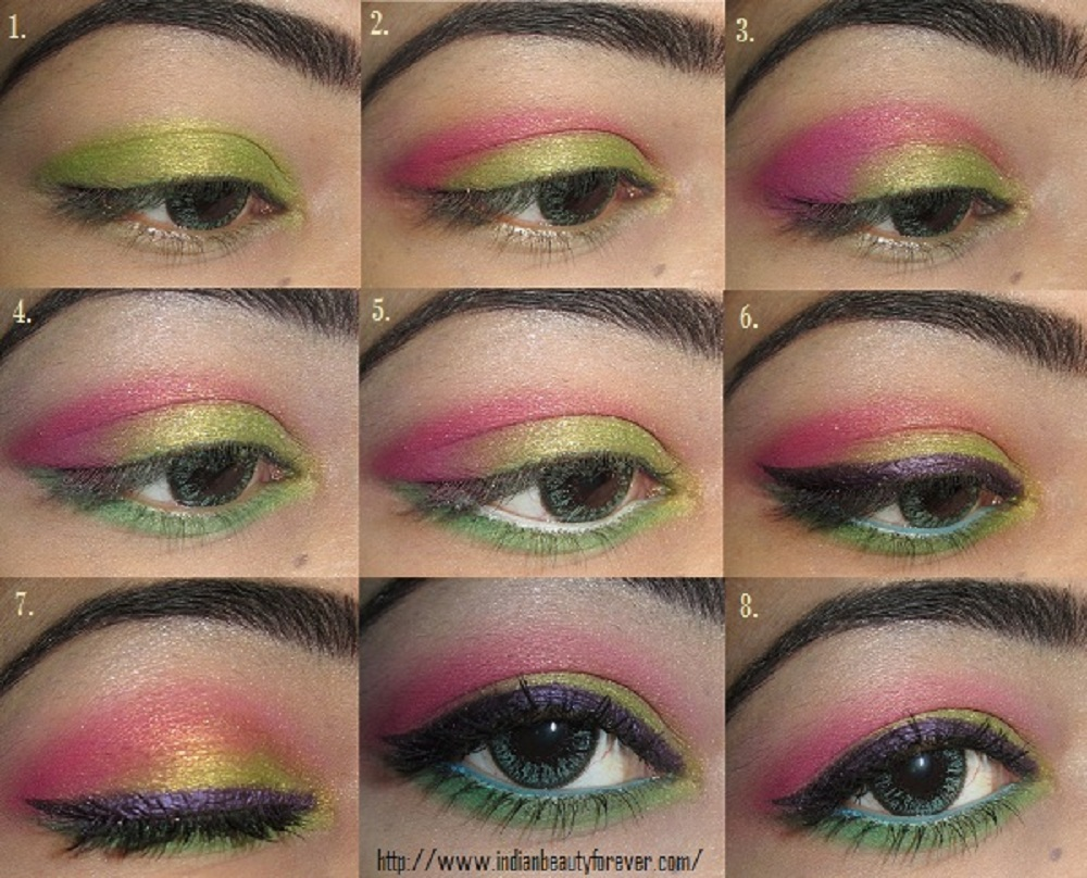 colorful summer eye makeup step by step tutorial - indian beauty forever